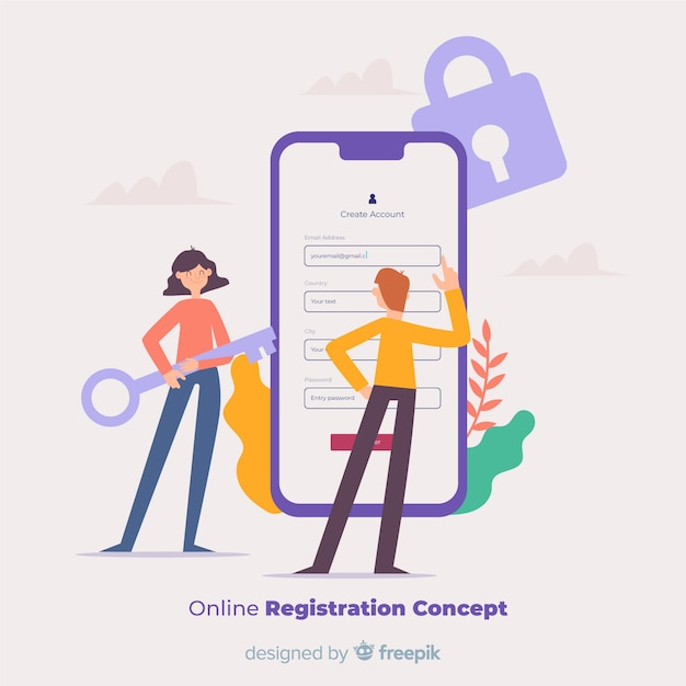 Concetto di registrazione online Vettore Premium