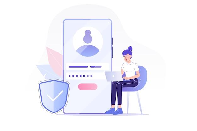 Registrazione online e iscriviti con la donna seduta vicino allo smartphone Vettore Premium