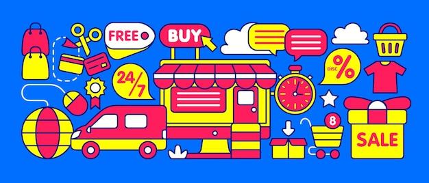 Illustrazione del negozio online Vettore Premium