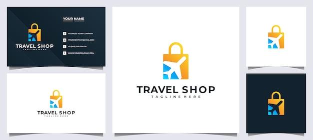 Logo del negozio online per compagnia di viaggi e biglietto da visita, Vettore Premium
