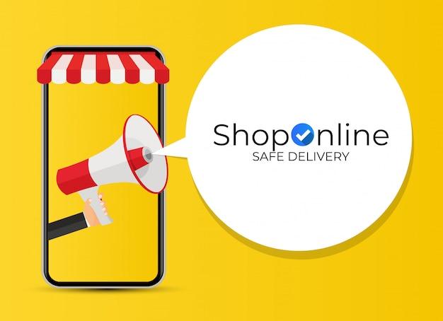 Concetto di shopping online. concetto moderno per banner web, siti web, infografica, materiali stampati. illustrazione Vettore Premium