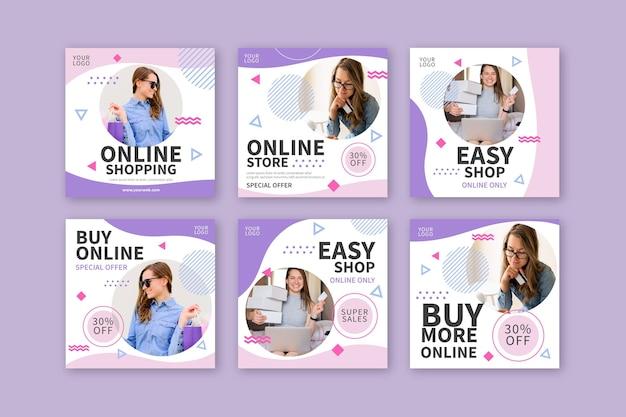 Raccolta di post di instagram dello shopping online Vettore Premium