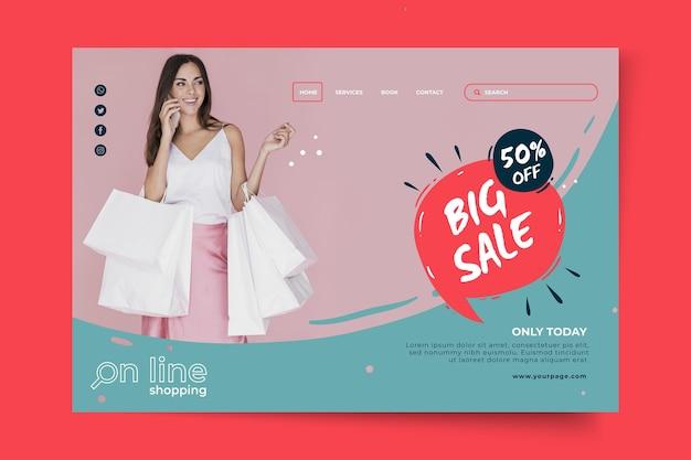 Modello di pagina di destinazione dello shopping online Vettore Premium