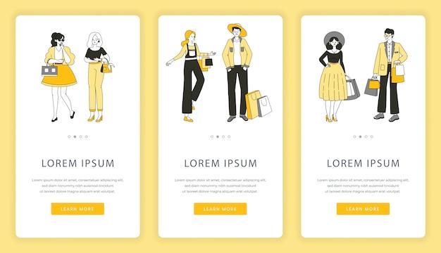 Schermate delle app mobili per lo shopping online. offerta speciale, shopping, vendita nel modello di sito web del negozio. Vettore Premium
