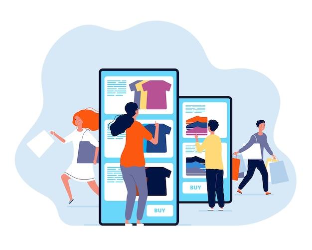 Acquisti online. persone che acquistano prodotti nel concetto di pagamento di smartphone e commerce negozio web. illustrazione shopping con smartphone, consumismo mobile Vettore Premium