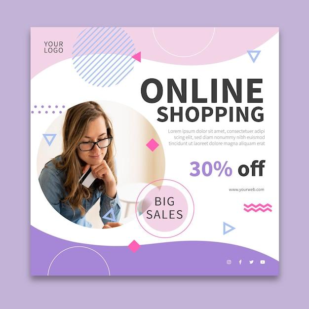 Volantino quadrato dello shopping online Vettore Premium