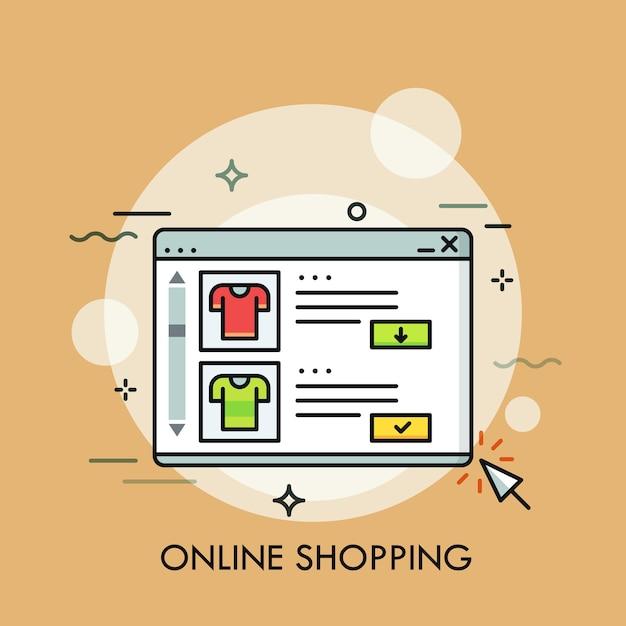 Web di acquisto in linea concetto di e-commerce Vettore Premium