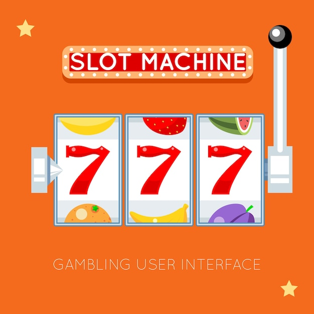Slot machine online. successo fortunato, gioco d'azzardo, jackpot di slot machine, illustrazione di slot machine da casinò. interfaccia utente di gioco d'azzardo vettoriale Vettore Premium