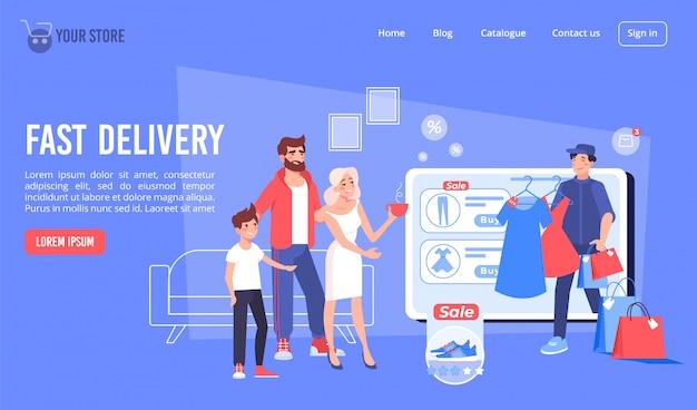 Pagina di destinazione della consegna rapida per lo shopping nel negozio online Vettore Premium