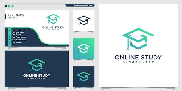 Logo di studio online con stile moderno e biglietto da visita Vettore Premium
