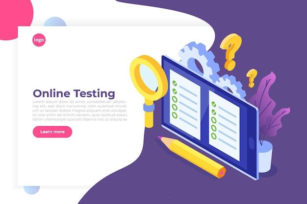 Test online, e-learning, concetto isometrico di istruzione. Vettore Premium