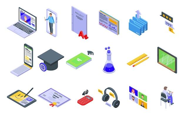 Set di icone di formazione online. insieme isometrico delle icone di formazione online per il web isolato su priorità bassa bianca Vettore Premium