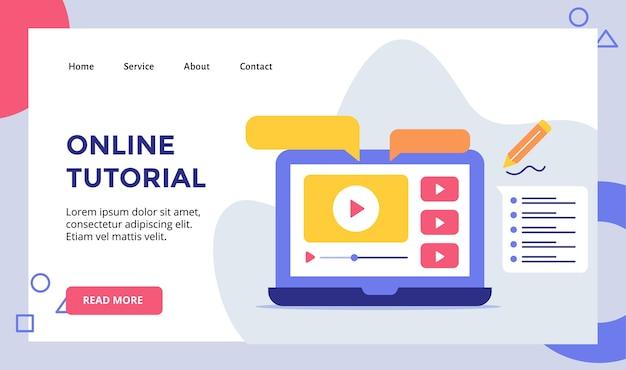 Video tutorial online riprodotto su display monitor campagna laptop per banner modello pagina di destinazione home homepage sito web con illustrazione moderna Vettore Premium