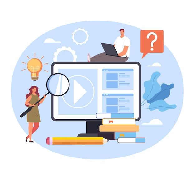 Tutorial video di classe di apprendimento di istruzione web online. Vettore Premium
