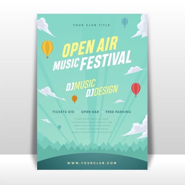 Manifesto del festival musicale all'aperto Vettore Premium