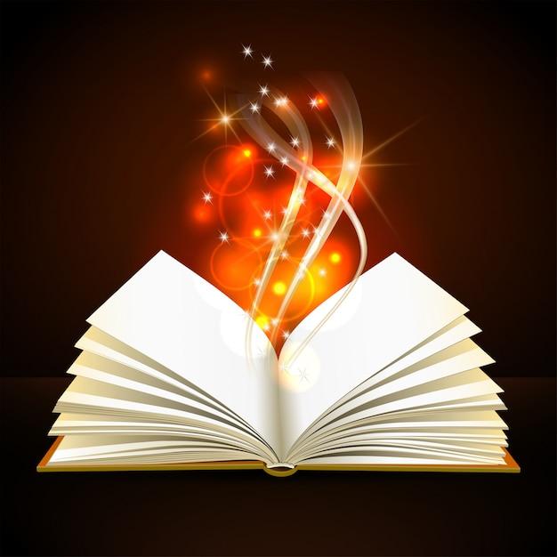 Libro aperto con mistica luce intensa su sfondo scuro. poster magico Vettore Premium