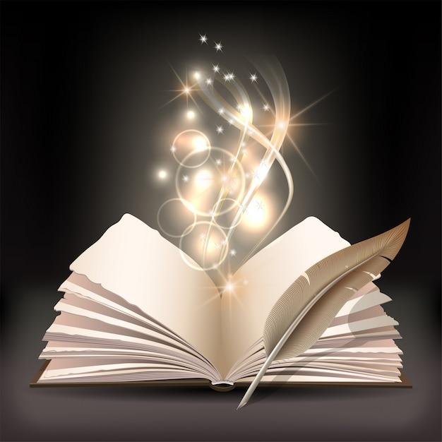 Libro aperto con luce mistica brillante e piuma d'oca su sfondo scuro. illustrazione di poster magico Vettore Premium