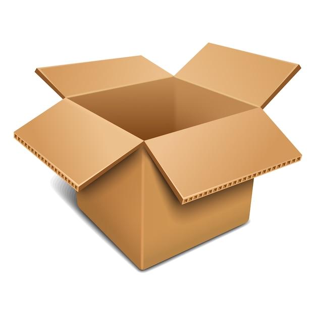 Aprire la scatola di cartone. Vettore Premium
