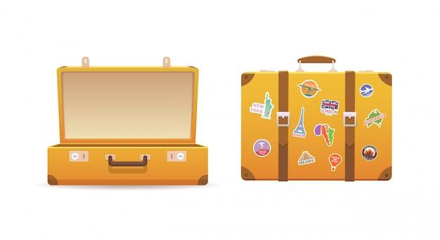 Apri e chiudi la vecchia valigia Vettore Premium