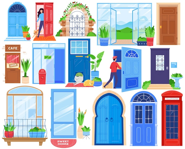 Porte di casa aperta, set di illustrazione vettoriale di architettura anteriore. cartoon flat indoor outdoor vista architettonica porta d'ingresso cancello Vettore Premium