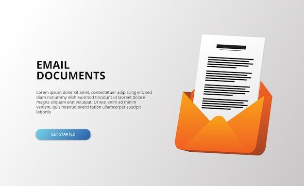 Lettera aperta dell'icona 3d della clip del documento della posta con la carta dei file per i file di posta in arrivo del messaggio digitale Vettore Premium