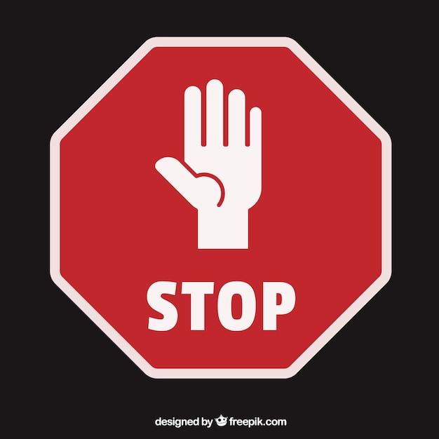 Aperto palma silhouette mano come segnale di stop Vettore Premium