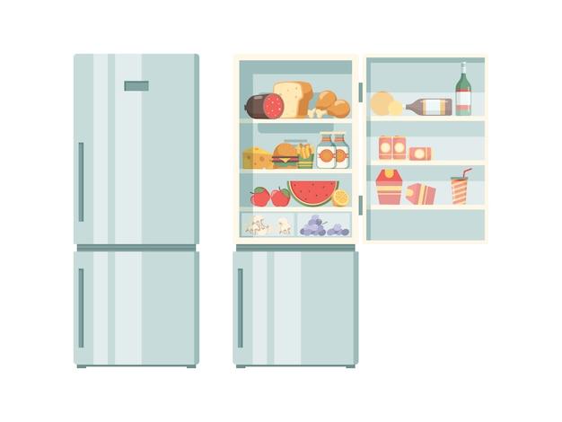 Aprire il frigorifero cibo sano nelle verdure freddi del frigorifero carne torte di juce bistecca immagini di prodotti del supermercato Vettore Premium