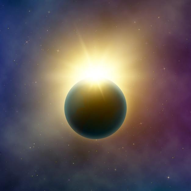 Spazio aperto. bellissima eclissi solare realistica. effetto eclissi di stelle astratto. sfondo Vettore Premium