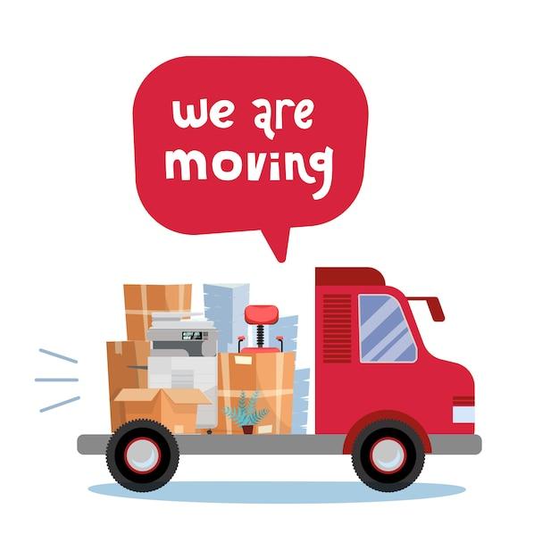Apra il tronco del camion che impila le cose dell'ufficio in scatole di cartone. spostamento corporativo. Vettore Premium