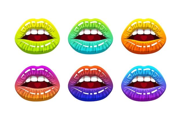 Bocca di donna aperta con labbra lucide color arcobaleno e cuore sulla lingua. illustrazione. Vettore Premium