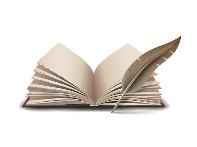 Libro aperto con strumento piuma d'inchiostro - illustrazione su sfondo bianco Vettore Premium