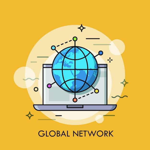 Laptop aperto e globo circondato da segni di posizione concetto di networking globale Vettore Premium