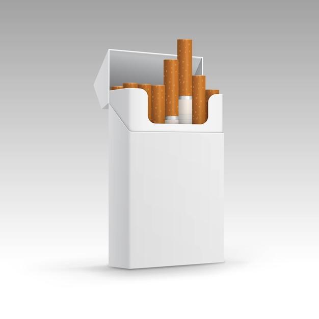 Pacchetto aperto di sigarette isolato su sfondo Vettore Premium