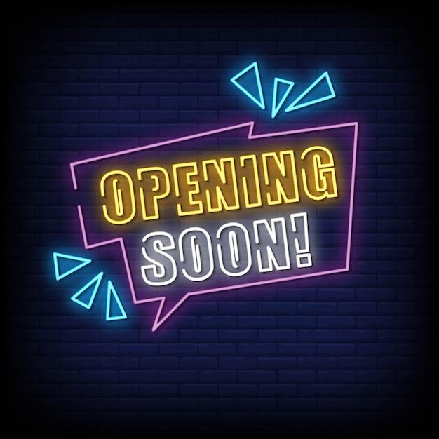 Apertura presto insegna al neon sul muro di mattoni Vettore Premium
