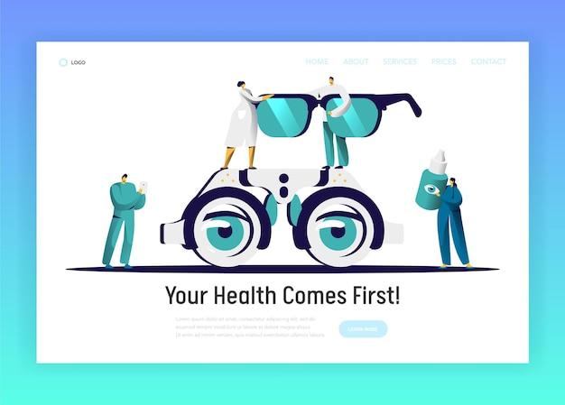 Pagina di destinazione degli occhiali di analisi del medico dell'oftalmologo. Vettore Premium