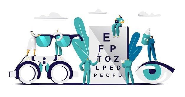 Oculista medico check eyesight per occhiali diottrica. oculista maschio con vista dell'occhio di controllo del puntatore. Vettore Premium