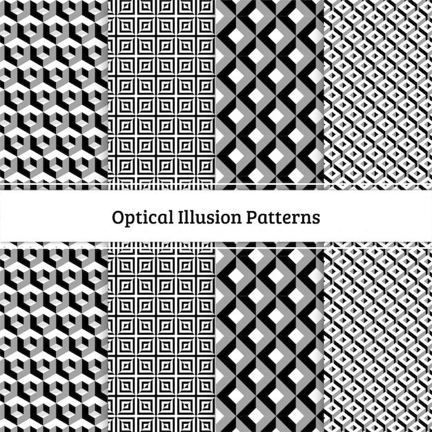 Modelli di illusione ottica Vettore Premium