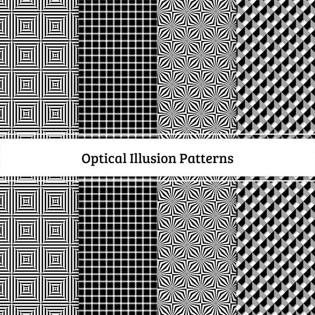 Illusioni ottiche seamless pattern impostato in bianco e nero Vettore Premium