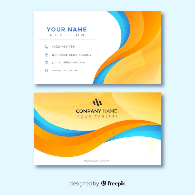 Linee astratte arancio e blu per il biglietto da visita Vettore Premium