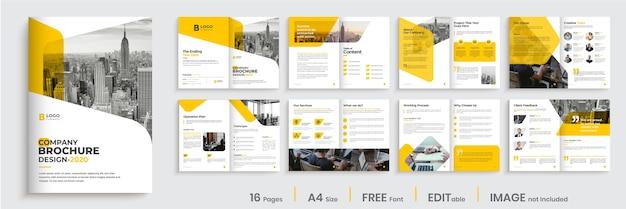 Layout del modello di brochure aziendale di forma di colore arancione Vettore Premium