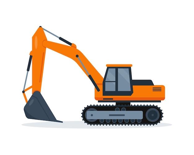 Escavatore arancione isolato su priorità bassa bianca. macchine da cantiere. Vettore Premium