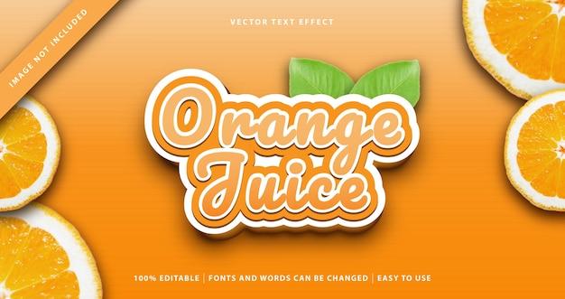 Effetto testo di frutta succo d'arancia. Vettore Premium