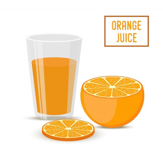 Succo d'arancia con frutta. bevanda salutare Vettore Premium