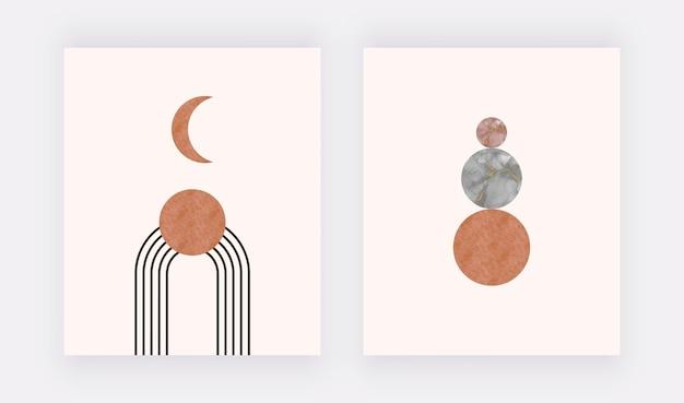 Luna arancione con forme di inchiostro di alcol nero. stampa artistica da parete boho. Vettore Premium