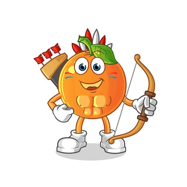 Arancione nativi americani tribù personaggio mascotte dei cartoni animati Vettore Premium