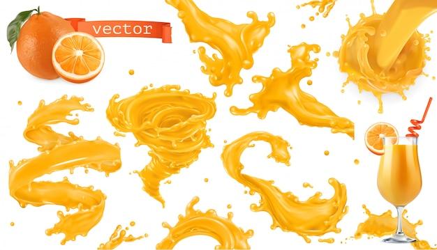 Spruzzata di vernice arancione. succo di mango, ananas, papaia. set di icone realistiche 3d Vettore Premium