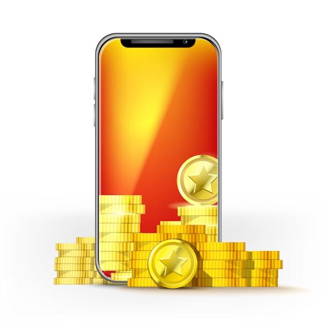 Telefono cellulare schermo arancione con una serie di monete d'oro. modello per gioco di layout, rete mobile o tecnologia, bonus o jackpot Vettore Premium