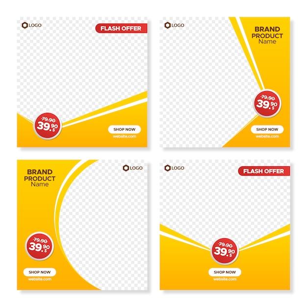 Modelli di banner vendita quadrato arancione per web e instagram Vettore Premium
