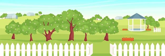 Illustrazione di colore piatto frutteto. bellissimo giardino 2d cartone animato paesaggio con gazebo e serre sullo sfondo. stile di vita di campagna, crescita dei frutti. scenario rurale con alberi in fiore Vettore Premium