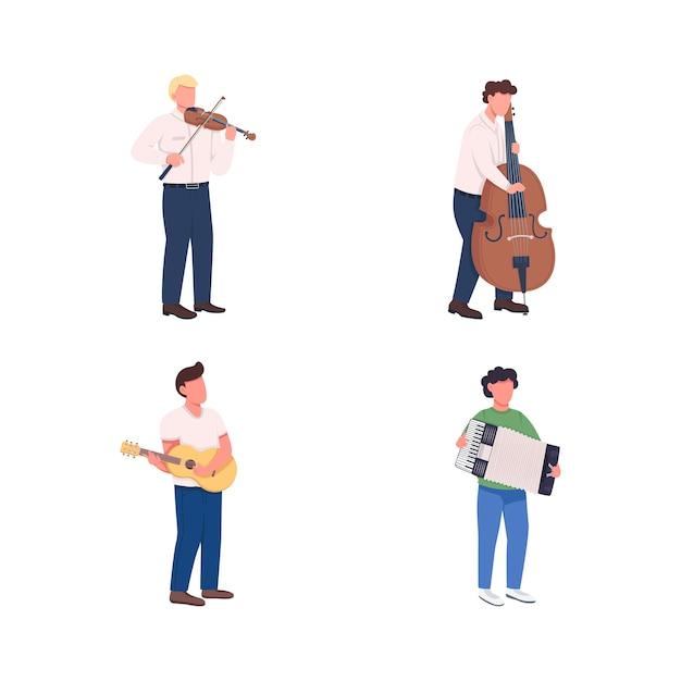 Set di caratteri senza volto di colore piatto dei musicisti dell'orchestra. suona la melodia. i giocatori di strumenti di musica classica hanno isolato l'illustrazione del fumetto per la progettazione grafica web e la raccolta di animazione Vettore Premium